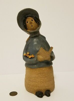 Adorable Vintage Hand Crafted Stoneware Pottery Caroler