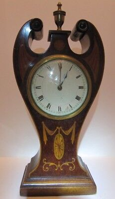 Art Nouveau Mahogany Inlaid Balloon Mantle Clock antique  working