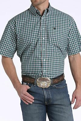 Cinch Men's Teal White Red Plaid S/S Shirt MTW1111249