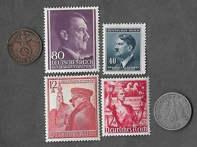 Rare Very Old WWII Nazi Germany Coin Stamp Collection WW2 Vintage German War Lot