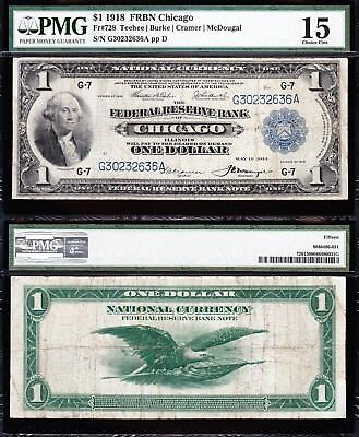 NICE Choice Fine+ 1918 *CHICAGO* $1 GREEN EAGLE FRBN! PMG 15! G30232636A