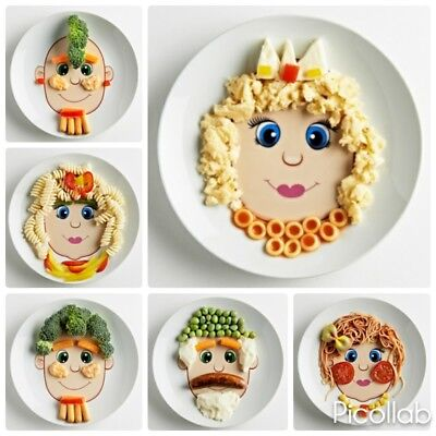 New Funny Face Dinner Plate for Kids, Dishwasher and Microwave Safe (Girls)