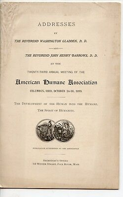1899 American Humane Association Addresses, Columbus, OH, Society