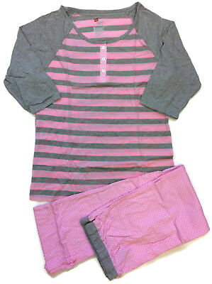 Hanes Brand Pink and Gray Striped Pajamas for Women Cotton Blend