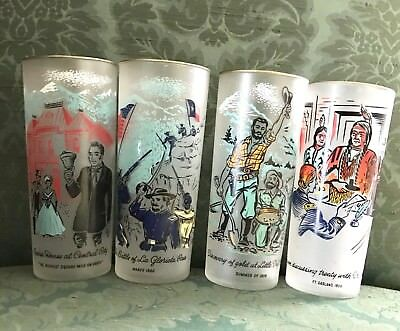 Set Of 4 Libbey Frosted Centennial Colorado History Glasses Carter Oil Vintage