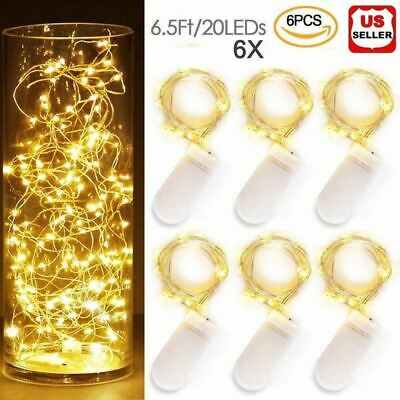 6x 20LEDs Waterproof LED MICRO Silver Copper Wire String Fairy Lights Decor US