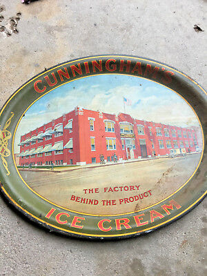 BS4 vintage RARE! CUNNINGHAM'S ICE CREAM & ICES Huge metal tray CHICAGO ILLINOIS