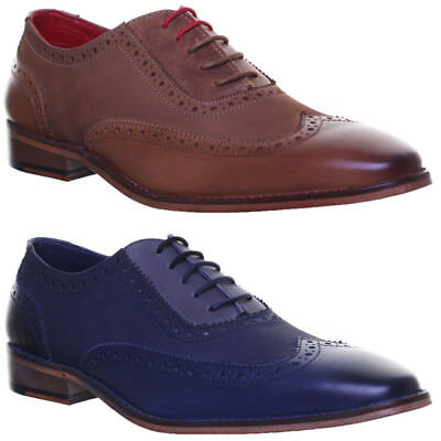 Justin Reece Mens All Leather Sole Base Contrast Brogues Lace up