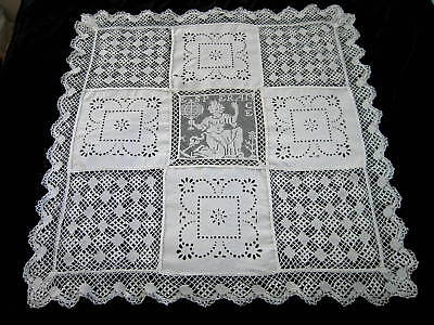 Antique French Linen Broderie Anglaise Maltese Filet Figural Lace Tablecloth