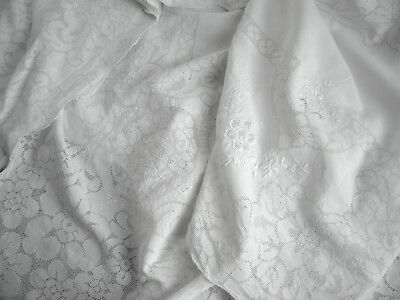"""Antique Italian Linen Drawnwork Lace Embroidered Tablecloth 98"""" & 10 Napkins"""