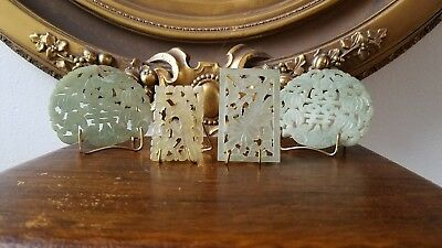 Antique Chinese Nephrite Jade Pendants Hand Carved Buckles/Plaques 19th Century