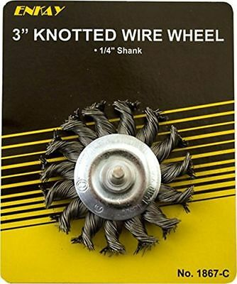"""Enkay 1867-C 3"""" Knotted Wire Wheel, 1/4"""" Shank, Carded"""