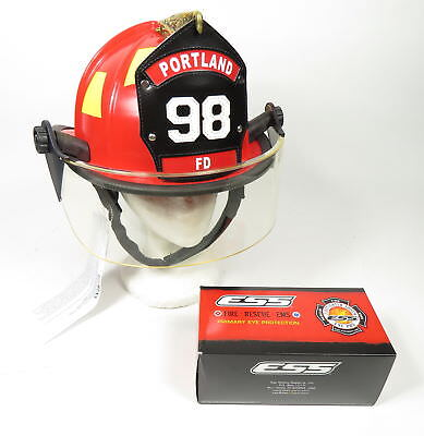 NEW 2017 FIRE-DEX TRADITIONAL PORTLAND 98 RED FIREFIGHTER HELMET w ESS GOGGLES