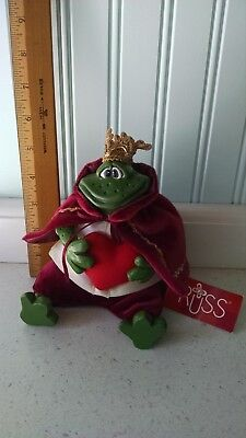 """""""prince Charming"""" Bean Bag Frog Russ Berrie Country Folks With Tags"""