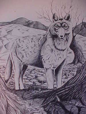 WOLF Picture, Signed Lithograph Sketching by Gary Fiscus, 20/500