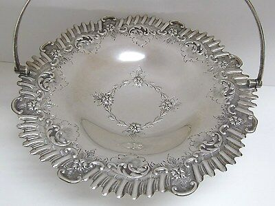 Antique Sheffield England Hallmarked Lee & Wigfull Silver Brides Basket Excelent