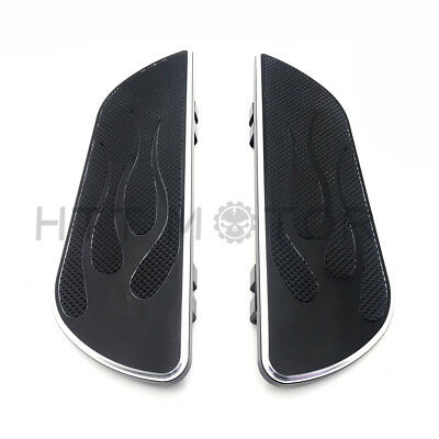 Pair Black Flame Foot Board Rider Driver Floorboard For Harley Touring 1984-16