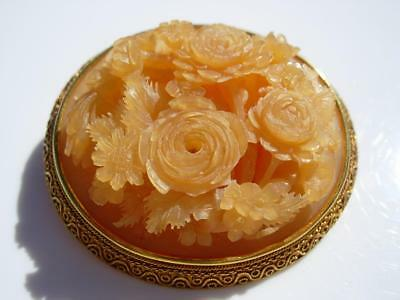 """A Beautiful Antique Chinese Carved 22/24K Gold """"rose Bouquets' Brooch"""