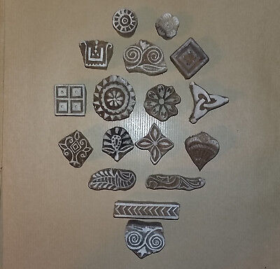 Collection of Vintage Hand Made Wooden Printing Blocks for Fabric Textiles Art