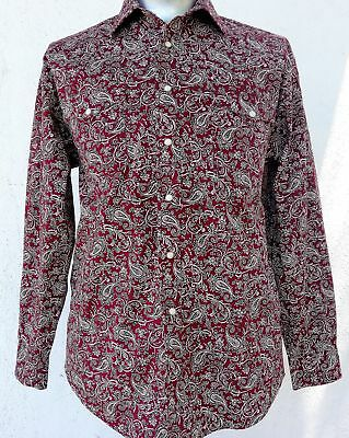 Men's Maroon Paisley Western shirt by 'Panhandle' size S-M