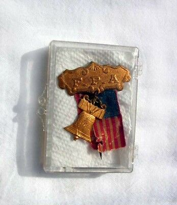 """Antique """"f.p.a."""" Pin With 13 Star Flag + Libery Bell Possibly Masonic Lodge (?)"""
