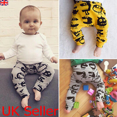 UK Infant Baby Boys Monster Printed Long Pants Trousers Leggings Outfits Clothes