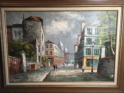 Original Oil Painting Mary Botto Parisian Paris Street Scene - Signed | Rare