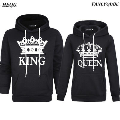 KING And QUEEN Hoodies Valentine New Black White Matching Love Couples Tops