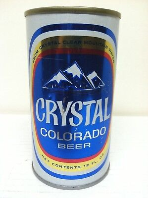 Empty 12 oz Crystal Colorado beer can - Steel, Flat top, wide seam - Walter's