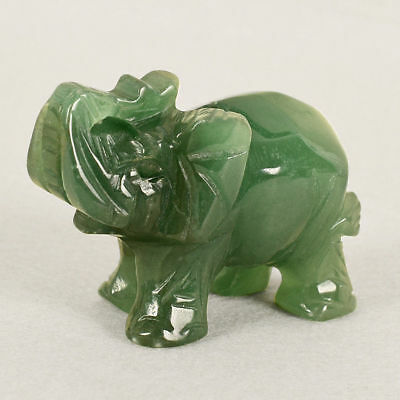 Hand Carved Green Aventurine Jade Stone Craving Lucky Elephant Ornaments Decor