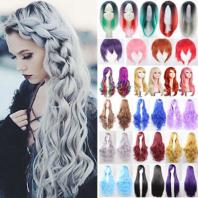 Women's Short / Long Hair Full Wig Natural Curly Wavy Straight Wigs Cosplay UK