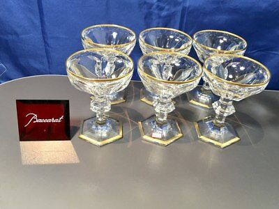Baccarat Crystal Ems (Harcourt golden) set 6 Coupe Champagne 622107 NEW IN BOX
