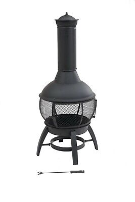 Cast Iron Chiminea Fire Pit Potbellied Covered Fireplace Outdoor 360 Degree View