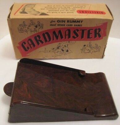 Antique Marbleized Plastic CARDMASTER Card Dealer Shoe w Box Los Angeles 1940s