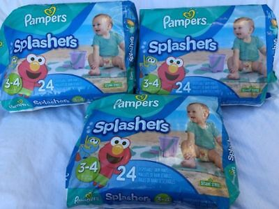 PAMPERS Splashers SWIM Diapers Pants Size 3-4 16-34 lbs (3) packages 24 72 pair