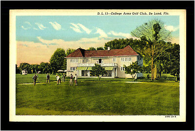 Golf Club 1950 College Arms De Land Florida Litho Old Postcard