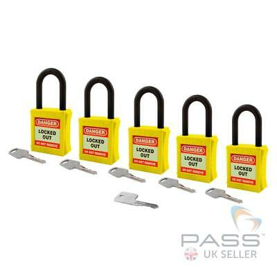 Lockout Fully Insulated Nylon Padlock - Key Different + Master - 5 Pack (Yellow)