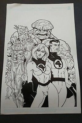 Original Art of Marvel Fantastic Four team by Mitch Brown