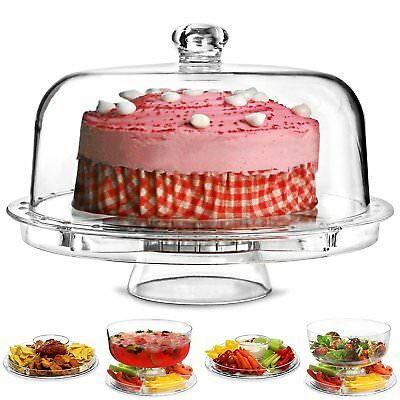 6 in 1 Multi-Function Plastic Cake Stand with Dome Lid Dip Platter Punch Bowl