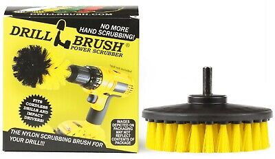 Yellow Drill Brush for Cleaning Showers, Tubs, Bathrooms, Tile, and Grout