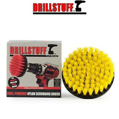 Yellow Medium Drill Brush - Power Scrubbing Brush Drill Attachment with 1/4 QC