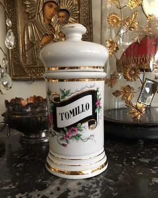 Vintage French Apothecary Jar Gilded Thyme Tomillo Hand Painted Pottery Flowers