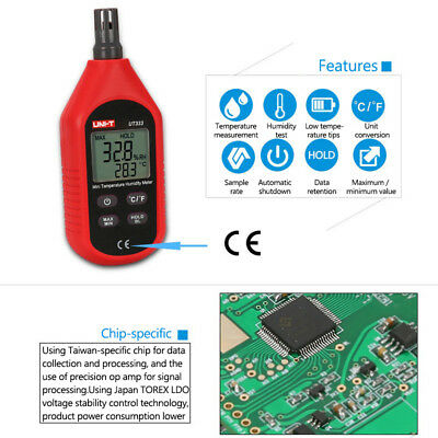 UT333 Digital LCD Thermometer Hygrometer Gauge Mini Dual Display Humidity Meter