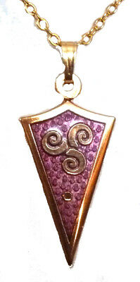 Enamel and Gold Plate Red Triangle with Small Celtic Trinity Necklace 7867
