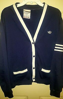 Vtg 90's Adidas Trefoil  Button Front Cardigan Sweater / Jacket Large