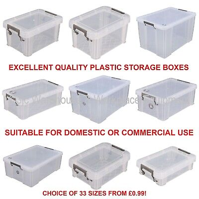 NEW Allstore Commercial Quality Clear Plastic Storage Box Boxes & Lids 33 Sizes