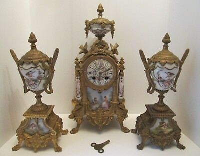 Stunning French Antique Cast Brass Bracket / Mantel Clock Garniture Set