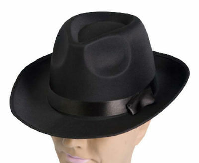 36e54107642 1920S 20 S Blues Brother Mens Black Gangster Satin Fedora Trilby Costume Hat