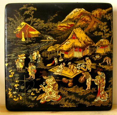 Japanese Meiji Period Papier Mache Lacquered box Highlighted with Gold Leaf