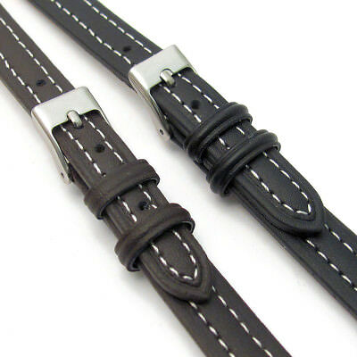 Lightly Padded XL Leather Watch Band Contrast Stitched 12mm 14mm C010
